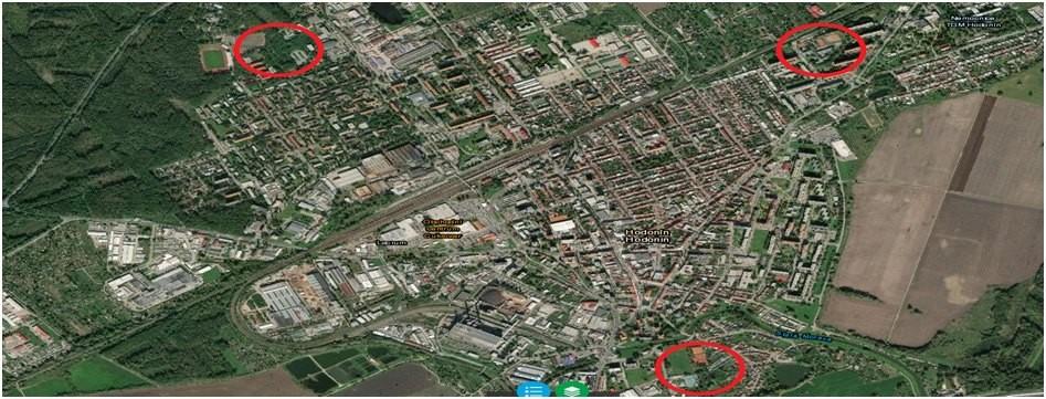 Obr. č. 3 Satelitní snímek města Hodonín s vyznačením možnosti vybudování sportovních areálů